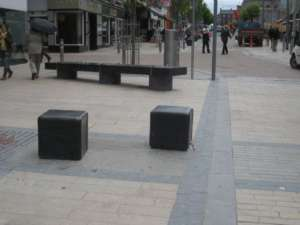 44 Square seats, polished Limestone with rounded edges