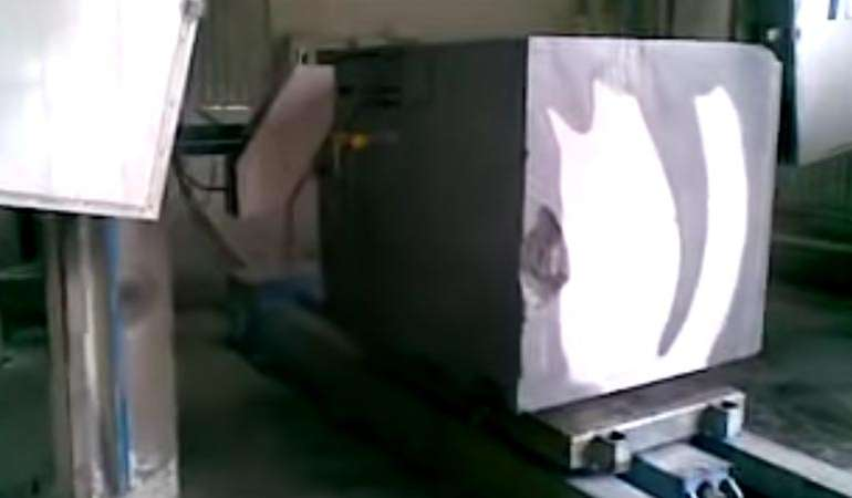 CNC wire saw cutting Limestone from CAD designed shape